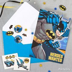 Assemble the heroes for a day of action-packed fun! Send out Batman invites full of cool tattoos and confetti to get the party started!