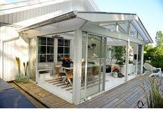 Sadeltak - Willab Garden Porch And Balcony, Patio Gazebo, House With Porch, Backyard, House Extension Design, House Design, Outdoor Rooms, Outdoor Living, Corner Window Treatments