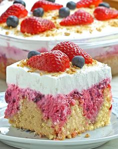 Summer Berry Cheesecake Poke Cake is a perfect red, white, and blue dessert for your Memorial Day, of July BBQ's or any family get-together… Poke Cakes, Poke Cake Recipes, Gâteau Tres Leches, Blue Desserts, Vanilla Cake Mixes, Berry Cheesecake, Summer Berries, Salty Cake, Savoury Cake