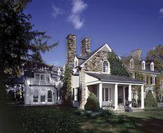 stone + white trim + ivy   [Bedford house by Ferguson & Shamamian]