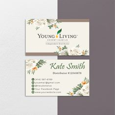 Floral Personalized Young Living Cards, Floral Essential Oil Card YL66– ToboArt