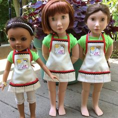 Craft aprons I made for Camp Doll Diaries.  They fit my Hearts 4 Hearts doll, Najhi and Clementine and Matilda, my A Girl For All Time dolls.  Photo by melangell.  #Campdolldiaries