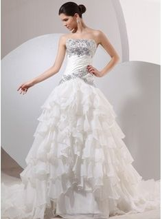 Ball-Gown Strapless Chapel Train Satin Tulle Wedding Dress With Ruffle Beadwork (002014040)