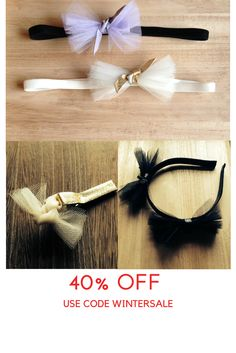 Tulle & leather #bows #headbands 40% off use code wintersale #flowergirl #kidsaccessories