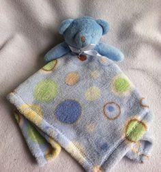 BabyGear Lovey Blue Teddybear Security Blanket Soft Circles Boys Blankie Silkie #BabyGear