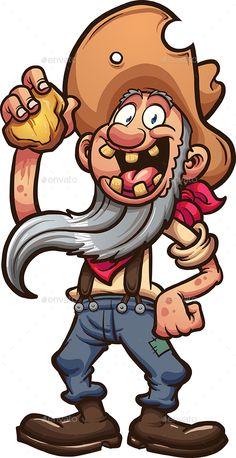 Buy Miner by memoangeles on GraphicRiver. Happy old cartoon prospector holding a piece of gold. Vector clip art illustration with simple gradients. Dope Cartoon Art, Dope Cartoons, Cartoon Faces, Cartoon Drawings, Looney Tunes Characters, Classic Cartoon Characters, Classic Cartoons, Forte Apache, Arte Black