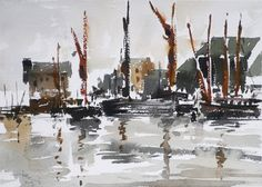 tony belobrajdic Barges in England, watercolour