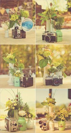 vintage cameras as center pieces