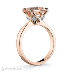 Splendid Cushion Pink Morganite weighing 3 carats set on 18k rose gold with white round brilliant diamond accents for our lovely client Kristin A. If you love it, pin it!     #pink #morganite #gemstone #diamond #diamonds #antiquering #ring #cushion #antiquejewelry #luxury #popgems