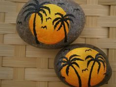 Missing Summer? Here is a little reminder of your summer tropical adventures....colorful painted rocks with palm trees and sunset......you think of