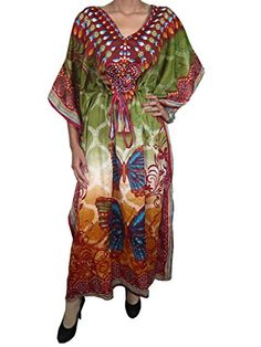 Womens Boho Gypsy Long Silk Caftan Butterfly Printed Kimono Kaftan Dress Mogul Interior http://www.amazon.com/dp/B00P0JZM1S/ref=cm_sw_r_pi_dp_sNPCub06C5X45