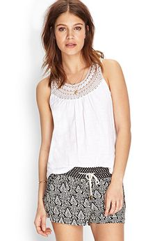 Crocheted Racerback Cotton Tank | FOREVER21 - 2000086397