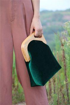 Wooden Handbag Velvet Clutch Vintage Embroidery Evening Handbag Women Wallet