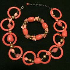 Coral jewelry set Caribbean style set includes necklace and bracelet ..Coral color with gold Jewelry