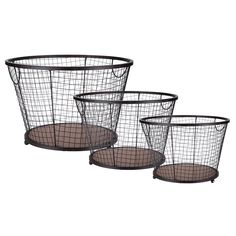 Round Brown Mesh Basket Set