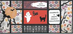 "Black cardstock cut at 12"" x 5 1/2"".  Score at 2, 4, 8 and 10 inches.  Fold to mak e a 4 x 5 1/2"" card.  Use any occasion paper to decorate. My  spider, boo  and bat from Cricut Wild Card, page 68.  .  Ghost from Paper Doll Dress Up, page 49.  Cat is a die cut."