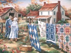 .A country scene with quilts
