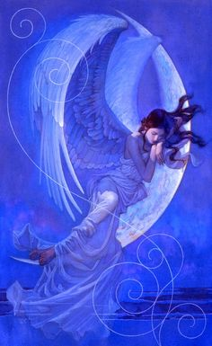 """Moonset"" (2008), By Tsuyoshi Nagano, Oil on Canvas; Tokyo, Japan. Member of the Society of Illustrators and the Japan Publication Artist League #angels     Artist Website: http://artas1.com/tsuyoshi_nagano/  Artist Gallery: http://en.tis-home.com/tsuyoshi-nagano/works/9"