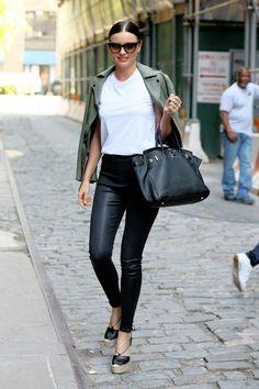 Moto Jacket + Leather Skinnies + Wedges + T-shirt