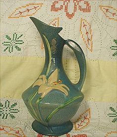"Lovely Roseville 10 1/2""  Blue Zephyr Lily Ewer Pitcher"