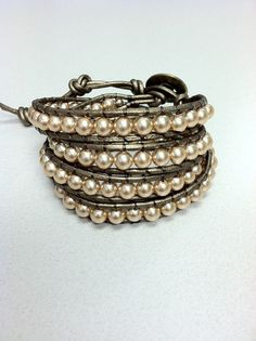 How to be a sophisticated badass: rock a faux pearl and leather wrap bracelet by Leatherwraps, $59.00