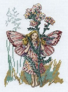 Cross stitch - fairies: Yarrow fairy - Cicely Mary Barker (free pattern with chart)