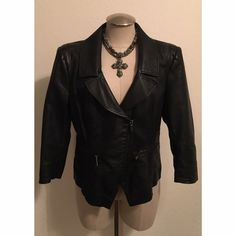 Leatherette Jacket bebe A black leatherette jacket.  Size L.  Bust 19' Length 22'  Ref # 006 bebe Jackets & Coats