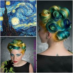 I thought that this was a great take and a little different from previous inspirations from Van Goghs' work. The color choice is spot on and even the way the hair is styled into pin curls to look like the painting. You really have to be brave and bold to pull this look off but you get where the stylist drew inspiration from.   Van Gogh's A Starry Night inspired hair color using Pravana Vivids