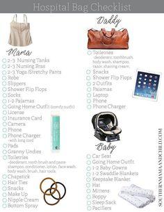 Free Hospital Bag Checklist Printable!