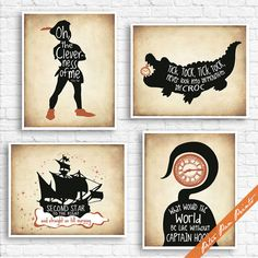 Peter Pan Neverland Inspired Quotes (series - Set of 4 Art Print (Unframed) (Featured in Treasure Map) Peter Pan Prints Peter Pan Neverland, Neverland Nursery, Peter Pan Nursery, Disney Nursery, Treasure Maps, Wall Art Quotes, Illustration Artists, Birthday Quotes, Accent Colors