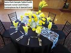 Swiss Park Banquet Center, Whittier CA--Pacakge B full lenth black tablecloths, black and white damask runner and black Chiavari Chairs--Centerpieces of yellow tulips and calla lilies in white milk glass vases trimmed in black rhinestones provided by A Special Event Decor, Whitter CA Pastor Anniversary, Table Centerpieces, Table Decorations, Black Tablecloth, Milk Glass Vase, Chiavari Chairs, Yellow Tulips, White Damask, Table Centers
