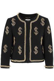 MoschinoDollar Sign chain-embellished crepe jacket