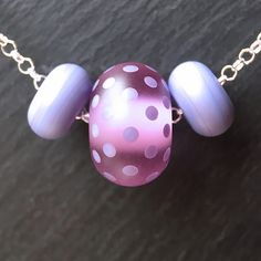 Lampwork glass 'Lavender Rose' Little Something Necklace | by Beads By Laura