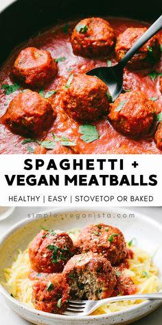 Low Fat Vegan Recipes, Vegan Recipes Easy, Whole Food Recipes, Vegetarian Recipes, Vegetarian Diets, Clean Eating Vegetarian, Clean Eating Recipes, Eating Clean, Vegan Meatballs