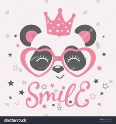 Cute panda face with crown, pink heart glasses. Vector illustration for children print design, kids t-shirt, baby wear