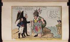 20 August 1806.Bodleian Libraries,Boney and Talley patching up a piece for John Bull. Caricature of Napoleon I.(British political cartoon)