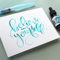 "From @starofmay - ""New video at my blog of this lettering... Watercolor Brush Lettering with a Light Pad. --------------- Watercolor: Dr. Ph. Martin's Radiant Concentrated…"""