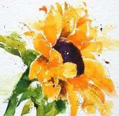 """facing up towards the light. Lisa Livoni, Napa Valley artist, colorist watercolor sunflowers w/ """"you are my sunshine"""" Sunflower Art, Watercolor Sunflower, Watercolor Flowers, Sunflower Paintings, Sunflower Design, Watercolor Cards, Watercolour Painting, Painting & Drawing, Watercolors"""
