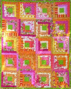 Bright Log Cabin #quilt in orange pink and green