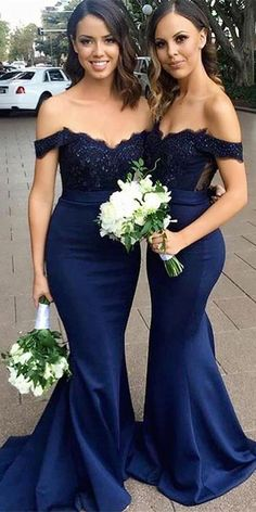 e2963f353 Sexy Sweetheart Off Shoulder Mermaid Long Bridesmaid Dress 2019 Custom Made  Long Navy Appliques Wedding Party