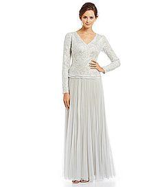 Tadashi Shoji EmbroideredLace Pleated Tulle Skirt Gown  Dillards 24e46a65d