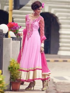 Light Pink Georgette Anarkali Suit With Velvet Patch And Zari Work www.saree.com