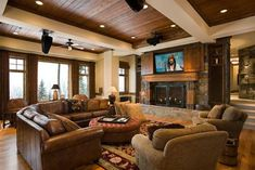 Rustic living room ♥  Love the ceiling and built in above fireplace for tv