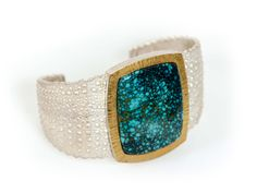 Sterling Silver Cuff Bracelet with Chinese Turquoise