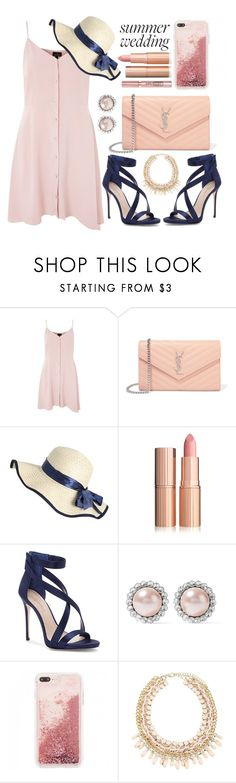 """""""Summer Wedding"""" by apoorvakingar ❤ liked on Polyvore featuring Topshop, Yves Saint Laurent, Imagine by Vince Camuto, L'Oréal Paris, Miu Miu, summerwedding, contestentry and polyvoreset"""