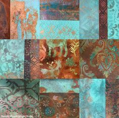 Layering Pattern with Stencil Art - Decorative Painting Wall Finishes - Royal Design Studio Stencils  With Modern Masters metallic reactive paints and papers - gorgeous and inspiring!
