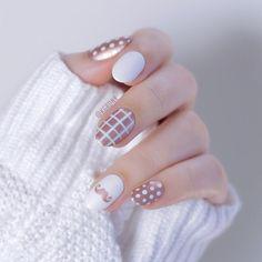 Rose Gold and White Nail Art