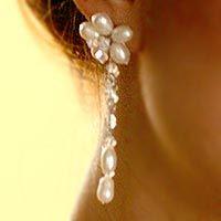 Pearl flower earrings, 'Bouquet of Pearls'