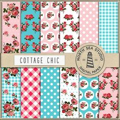 Cottage Chic Digital Paper Cottage Roses by NorthSeaStudio on Etsy