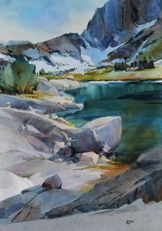 The Tahoe Art League invites the public to view a watercolor painting demonstration by Dale Laitinen, at the monthly meeting on Wednesday at 6 p. Watercolor Water, Watercolor Landscape, Abstract Landscape, Landscape Paintings, Watercolor Paintings, Gouache Painting, Watercolours, Sunrise Painting, Snow Art
